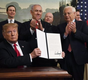 President Donald Trump officially recognizes Israeli sovereignty of Golan Heights